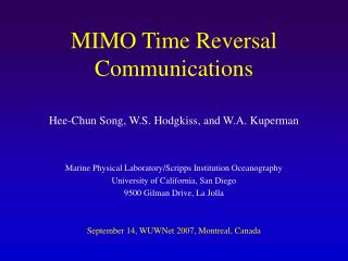 MIMO Time Reversal Communications