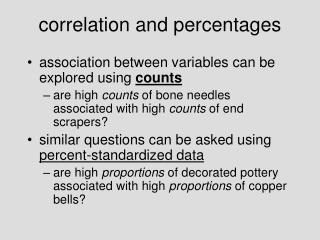 correlation and percentages