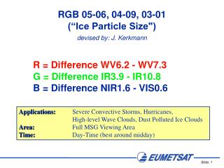 R = Difference WV6.2 - WV7.3 G = Difference IR3.9 - IR10.8 B = Difference NIR1.6 - VIS0.6