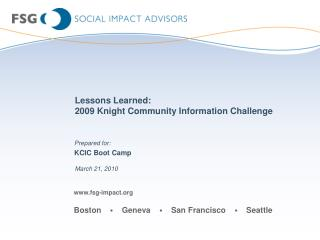 Lessons Learned: 2009 Knight Community Information Challenge
