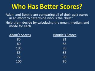 Who Has Better Scores?