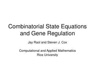 Combinatorial State Equations and Gene Regulation