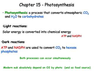 Chapter 15 - Photosynthesis