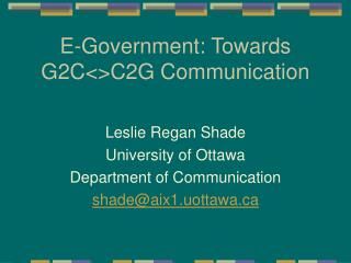 E-Government: Towards G2C<>C2G Communication