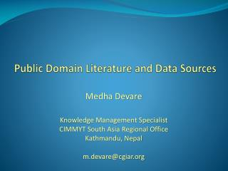 Public Domain Literature and Data Sources