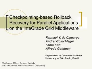 Checkpointing-based  Rollback Recovery for Parallel Applications on the InteGrade Grid Middleware
