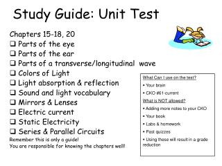 Study Guide: Unit Test