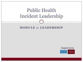 Public Health Incident Leadership