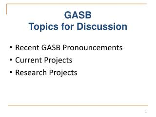 GASB Topics for Discussion
