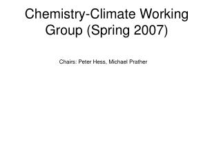 Chemistry-Climate Working Group (Spring 2007)