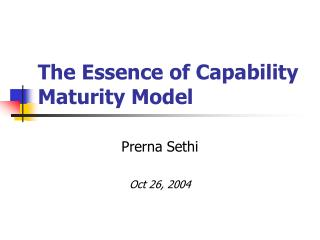The Essence of Capability Maturity Model
