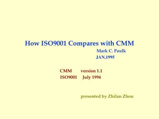 How ISO9001 Compares with CMM Mark C. Paulk JAN,1995