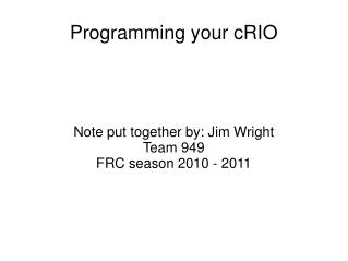 Programming your cRIO