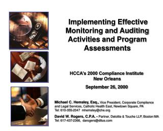 Implementing Effective Monitoring and Auditing Activities and Program Assessments