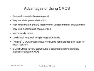 Advantages of Using CMOS