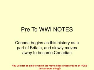 Pre To WWI NOTES