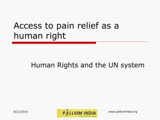 Access to pain relief as a human right