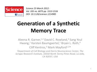 Generation of a Synthetic Memory Trace