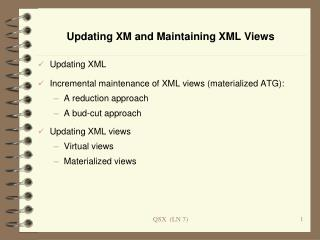 Updating XM and Maintaining XML Views