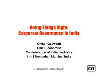 Doing Things Right: Corporate Governance in India