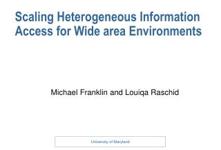 Scaling Heterogeneous Information Access for Wide area Environments
