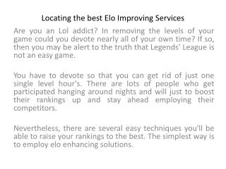 Locating the best Elo Improving Services