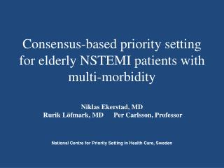 Consensus-based priority setting for elderly NSTEMI patients with multi-morbidity