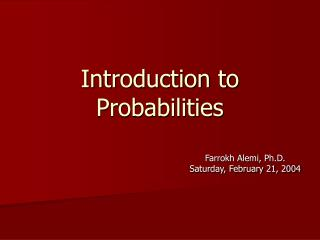 Introduction to Probabilities