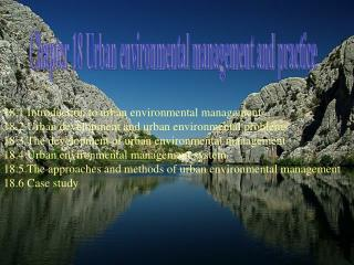Chapter 18 Urban environmental management and practice