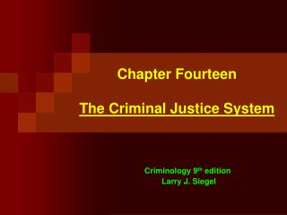 Chapter Fourteen The Criminal Justice System
