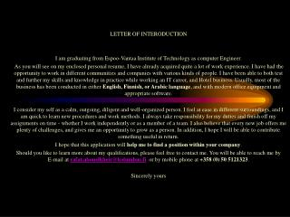 LETTER OF INTERODUCTION