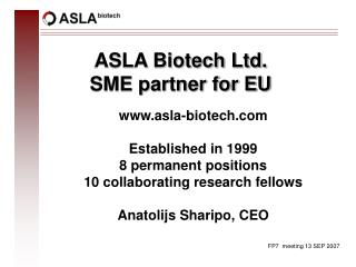 ASLA Biotech Ltd.  SME partner for EU