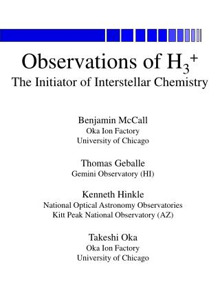 Observations of H 3 + The Initiator of Interstellar Chemistry
