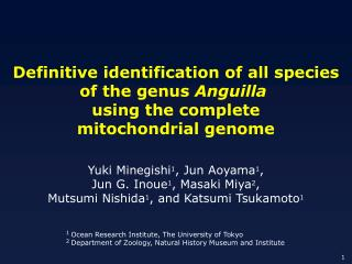 Definitive identification of all species of the genus  Anguilla using the complete