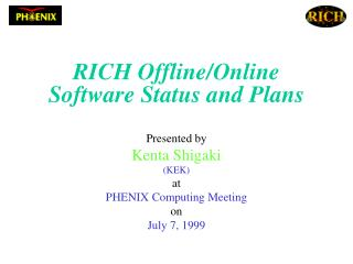 RICH Offline/Online Software Status and Plans