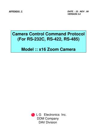 Camera Control Command Protocol (For RS-232C, RS-422, RS-485) Model :: x16 Zoom Camera