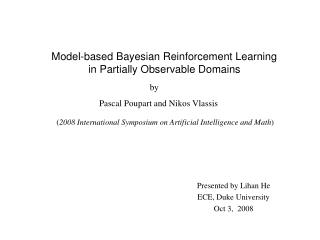 Model-based Bayesian Reinforcement Learning in Partially Observable Domains