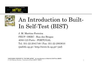 An Introduction to Built-In Self-Test (BIST)