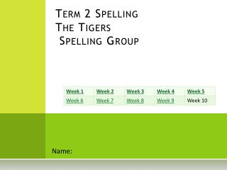 Term  2 Spelling The  Tigers  Spelling Group