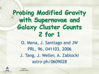 Probing Modified Gravity with Supernovae and Galaxy Cluster Counts 2 for 1