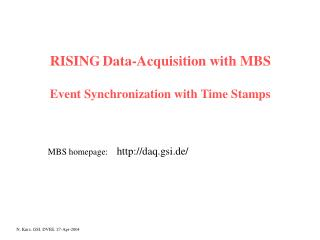 RISING Data-Acquisition with MBS Event Synchronization with Time Stamps