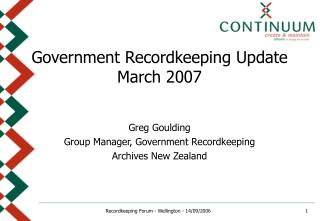 Government Recordkeeping Update March 2007