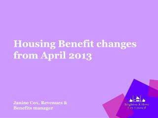 Housing Benefit changes from April 2013