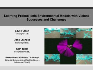 Learning Probabilistic Environmental Models with Vision: Successes and Challenges