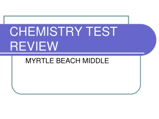 Chemistry Test Review