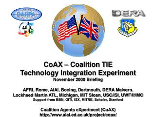 CoAX – Coalition TIE Technology Integration Experiment November 2000 Briefing