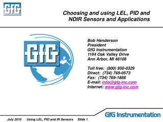 Choosing and using LEL, PID and NDIR Sensors and Applications