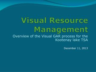 Visual Resource Management