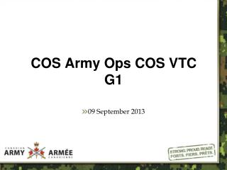 COS Army Ops COS VTC G1