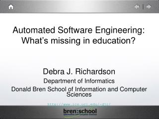 Automated Software Engineering: What's missing in education?